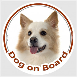 "Circle sticker ""Dog on board"" 15 cm, Icelandic Sheepdog Head, decal adhesive car label Iceland Spitz"