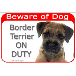 """Red Portal Sign """"Beware of Dog, Border Terrier on duty"""" gate plate, door placard panel photo notice"""
