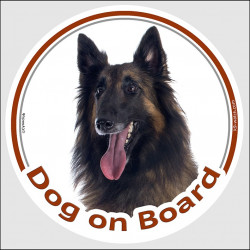"Circle sticker ""Dog on board"" 15 cm, Belgian Tervuren Shepherd Head, decal adhesive car label belgium Tervueren Sheepdog"