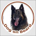 "Circle sticker ""Dog on board"" 15 cm, Belgian Tervuren Shepherd Head"