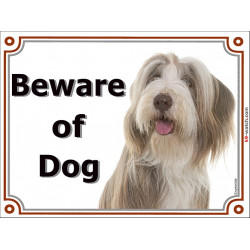 Portal Sign, 2 Sizes Beware of Dog, Fawn and White Bearded Collie head, Gate placard, door plate panel, Beardie Highland Collie,