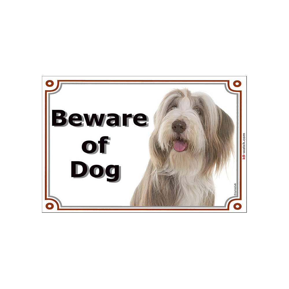Bearded Collie Beware of the Dog  Design Metal Door Sign