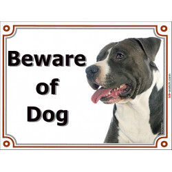 Portal Sign, 2 Sizes Beware of Dog, Black & white Amstaff head, gate plate, placard door panel American Stafford Terrier Staffor
