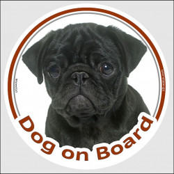 "Circle sticker ""Dog on board"" 15 cm, Black Pug Head, decal adhesive car label"
