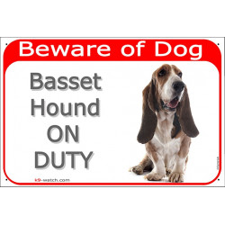 Portal Sign red 24 cm Beware of Dog, Basset Hound on duty, gate placard, door plate panel