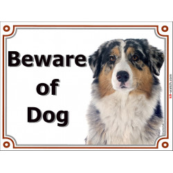 Portal Sign, 2 Sizes Beware of Dog, Blue Merle Australian Shepherd head, Gate placard, door plate panel Aussie