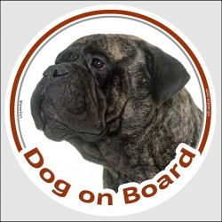 "brindle Bullmastiff, circle sticker ""Dog on board"" decal adhesive car label photo notice"