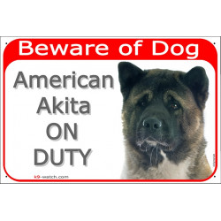 Portal Sign red 24 cm Beware of Dog, American Akita on duty, door plate gate placard panel
