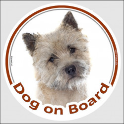 "Circle sticker ""Dog on board"" 15 cm, Cairn Terrier Head, decal adhesive car label"