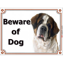 Portal Sign, 2 Sizes Beware of Dog, St. Bernard head, door plate, gate placard panel bernhardiner