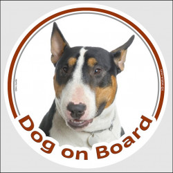 "Circle sticker ""Dog on board"" 15 cm, Tricolor English Bull Terrier Head, decal adhesive car label British tricolor"