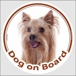 "Circle sticker ""Dog on board"" 15 cm, Yorkshire Terrier Head, decal adhesive car label Yorkie York"