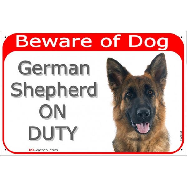 Portal Sign red 24 cm Beware of Dog, German Shepherd medium hair on duty, gate plate door placard panel