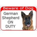 Portal Sign red 24 cm Beware of Dog, German Shepherd medium hair on duty