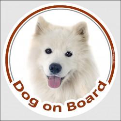 "Circle sticker ""Dog on board"" 15 cm, Samoyed Head, decal adhesive car label Bjelkier, Samoiedskaya Sobaka, Nenetskaya Laika"