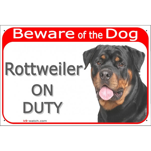"Red portal Sign red ""Beware of the Dog, Rottweiler on duty"" Gate plate, door panel portal placard Rottie Rott photo notice"