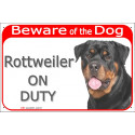 Portal Sign red 24 cm Beware of the Dog, Rottweiler on duty