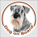 "Circle sticker ""Dog on board"" 15 cm, Salt and Pepper Schnauzer Head"