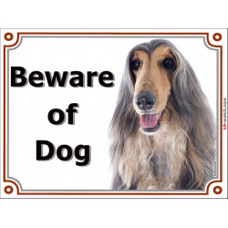 Portal Sign, 2 Sizes Beware of Dog, Blue and Cream Afghan Hound head, gate plate grey
