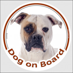 "Circle sticker ""Dog on board"" 15 cm, White and fawn American Bulldog Head, decal adhesive car label red country"