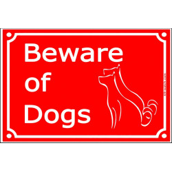 Red Portal Sign Beware of Dogs, gate plate plural placard panel