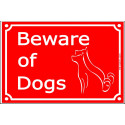 """Red Street Portal Sign """"Beware of Dogs"""" plural - 4 sizes"""