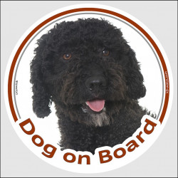 "Circle sticker ""Dog on board"" 15 cm, black Spanish Water Dog Head, decal adhesive car label"
