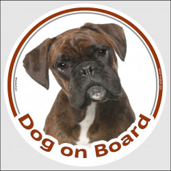 "Circle sticker ""Dog on board"" 15 cm, Brindle German Boxer Head, decal adhesive car label"