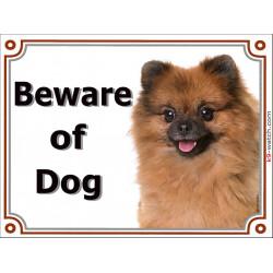 Portal Sign Beware of Dog, Orange Pomeranian head, red deutsche Spitz gate plate, placard panel