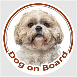 "Circle sticker ""Dog on board"" 15 cm, gold & white Shih Tzu Head, decal adhesive car label shihtsu tsu shitzu"