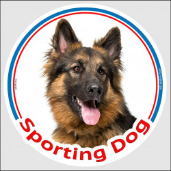 "Circle sticker In/Out ""Sporting Dog"" 15 cm, Long Hair German Shepherd Head, decal adhesive label haired sport agility"