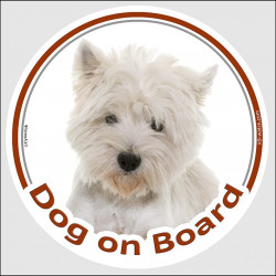 "Circle sticker ""Dog on board"" 15 cm, Westie Head, decal adhesive car label West Highland White Terrier Westy"