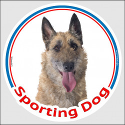 "Circle sticker In/Out ""Sporting Dog"" 15 cm, Belgian Shepherd Laekenois Head, decal adhesive agility label lakenois"
