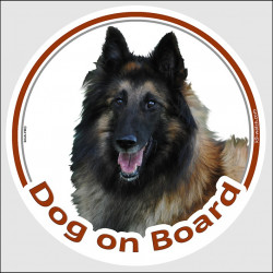 "Circle sticker ""Dog on board"" 15 cm, Belgian Tervuren Shepherd Head, decal adhesive car label Tervueren"