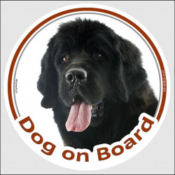 "Circle sticker ""Dog on board"" 15 cm, black Newfoundland Head decal adhesive car label"