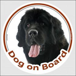"""Newfoundland, circle car sticker """"Dog on board"""" 15 cm"""