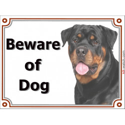 "Portal Sign ""Beware of Dog"" Rottweiler head, gat plate rotate, placard panel Rott gate plate photo notice, door plaque"