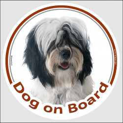 "Circle sticker ""Dog on board"" 15 cm, black and white Tibetan Terrier Head"