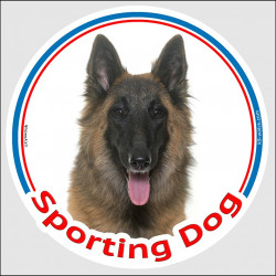 "Circle sticker In/Out ""Sporting Dog"" 15 cm, Belgian Shepherd Tervuren Head, decal adhesive agility tervuren label"