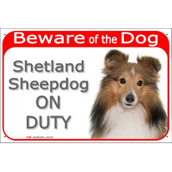 Portal Sign red 24 cm Beware of the Dog, red mahogany Shetland Sheepdog on duty, gate plate Fawn Sheltie placard panel