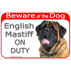 Portal Sign red 24 cm Beware of the Dog, Old English Mastiff on duty, gate plate placard panel fawn