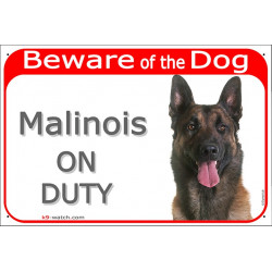 "Red portal Sign ""Beware of the Dog, Malinois on duty"" gate plate Belgian Shepherd placard panel notice photo"