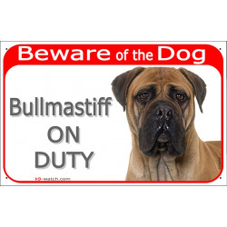 Portal Sign red 24 cm Beware of the Dog, Fawn Bullmastiff on duty, red gate plate placard panel