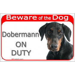 Portal Sign red 24 cm Beware of the Dog, Dobermann on duty, gate plate placard panel Doberman