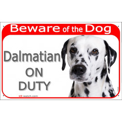 Portal Sign red 24 cm Beware of the Dog, Dalmatian on duty, gate plate placard panel spotted carriage coach