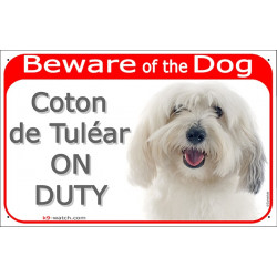 Portal Sign red 24 cm Beware of the Dog, Coton de Tuléar on duty, gate plate placard Cotie