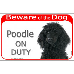 Portal Sign red 24 cm Beware of the Dog, black Poodle on duty, gate plate placard