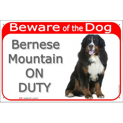 Portal Sign red 24 cm Beware of the Dog, Bernese Mountain Dog on duty seated, gate plate
