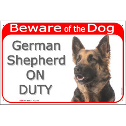 Portal Sign red 24 cm Beware of the Dog, German Shepherd long hair on duty, gate plate placard