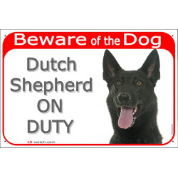 Portal Sign red 24 cm Beware of the Dog, black Dutch Shepherd on duty, gate plate